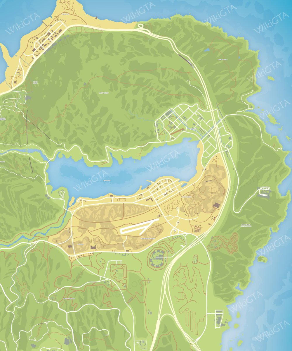 Map grand theft auto v - Clean Map Los Santos Blaine County Zancudo Whole Map